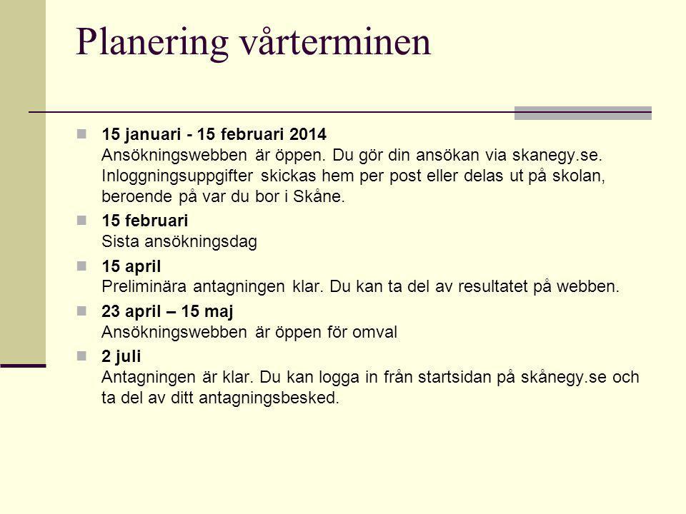 Planering vårterminen