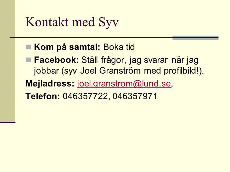 Kontakt med Syv Kom på samtal: Boka tid