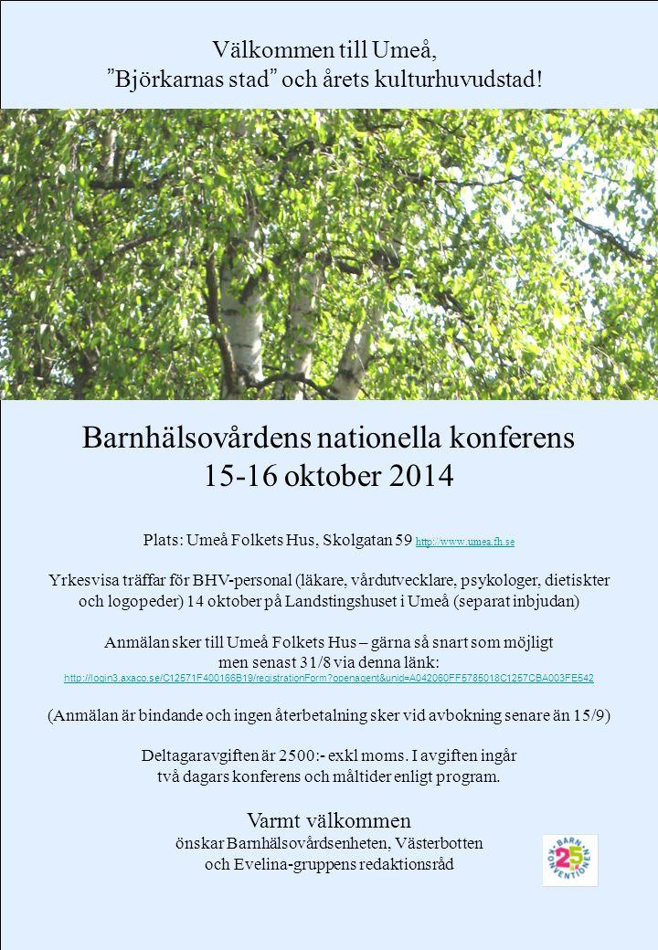 Barnhälsovårdens nationella konferens 15-16 oktober 2014