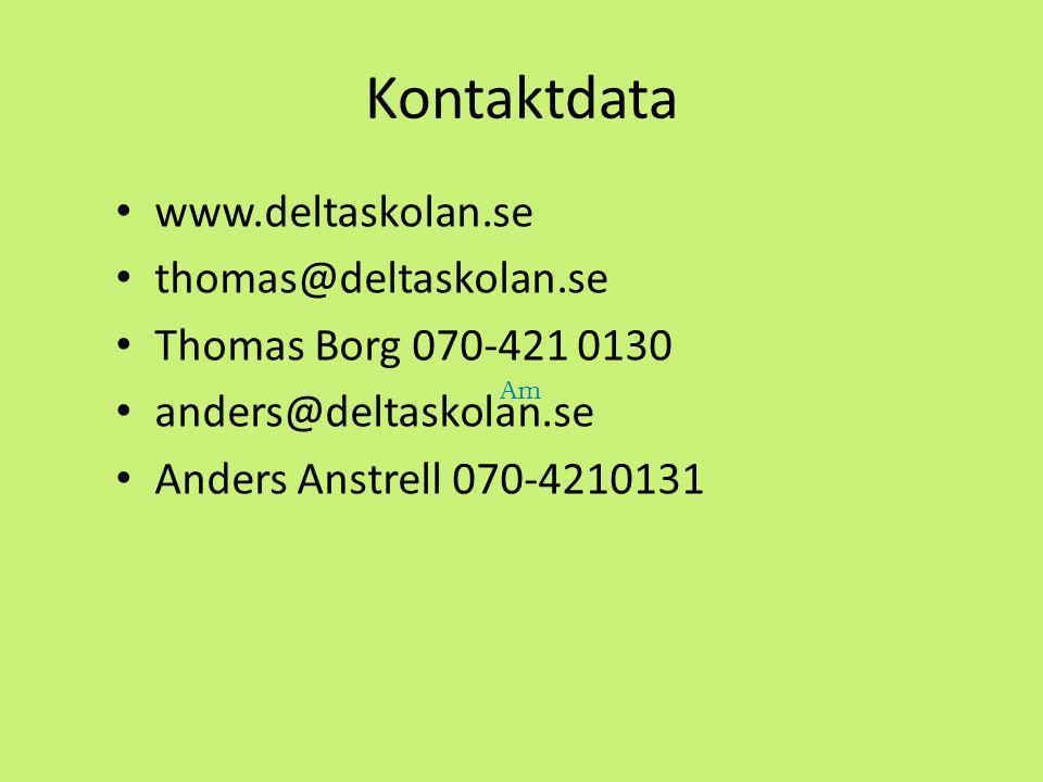 Kontaktdata www.deltaskolan.se thomas@deltaskolan.se