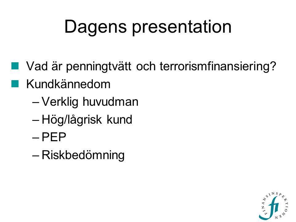 Dagens presentation Vad är penningtvätt och terrorismfinansiering
