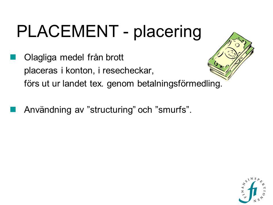 PLACEMENT - placering Olagliga medel från brott