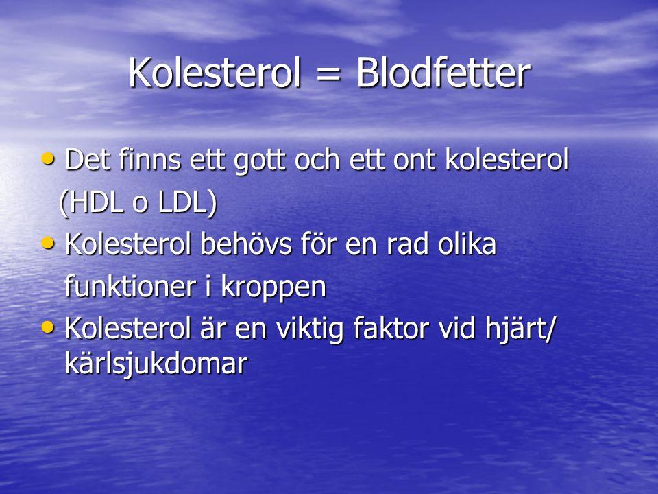 Kolesterol = Blodfetter