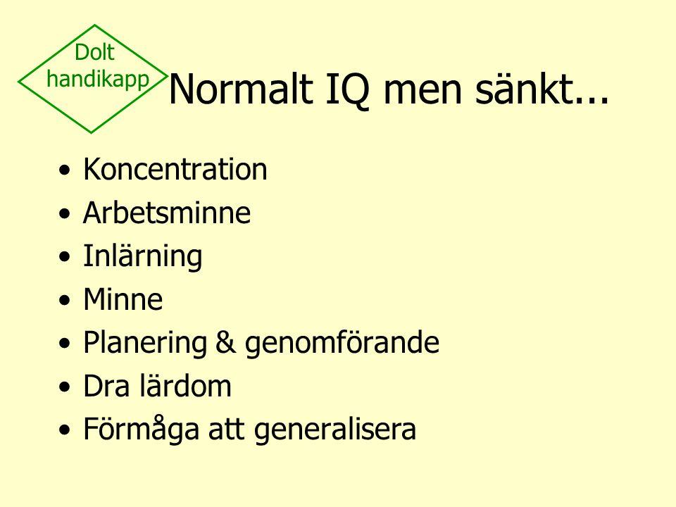 Normalt IQ men sänkt... Koncentration Arbetsminne Inlärning Minne