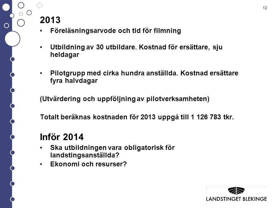 2013 Inför 2014 Föreläsningsarvode och tid för filmning