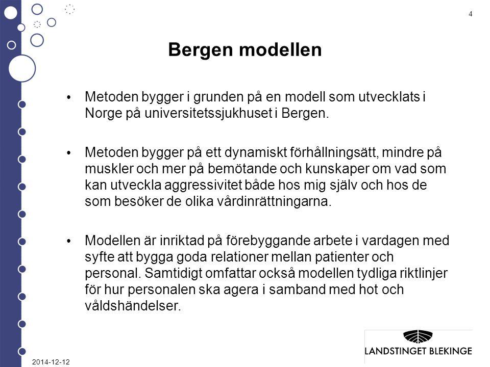 Bergen modellen Metoden bygger i grunden på en modell som utvecklats i Norge på universitetssjukhuset i Bergen.