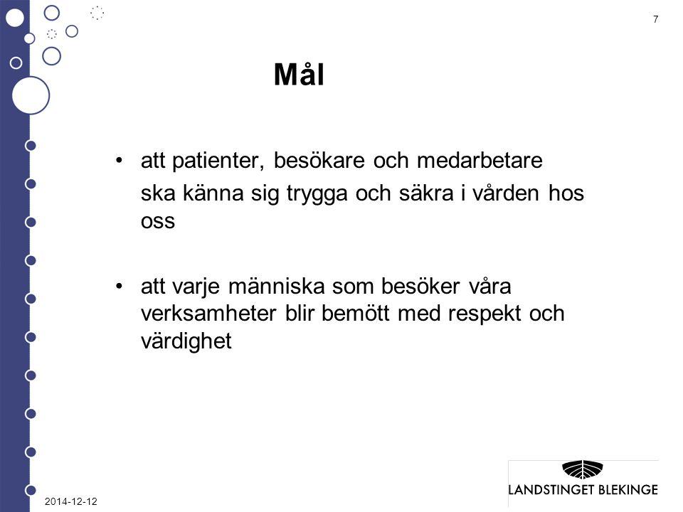 Mål att patienter, besökare och medarbetare