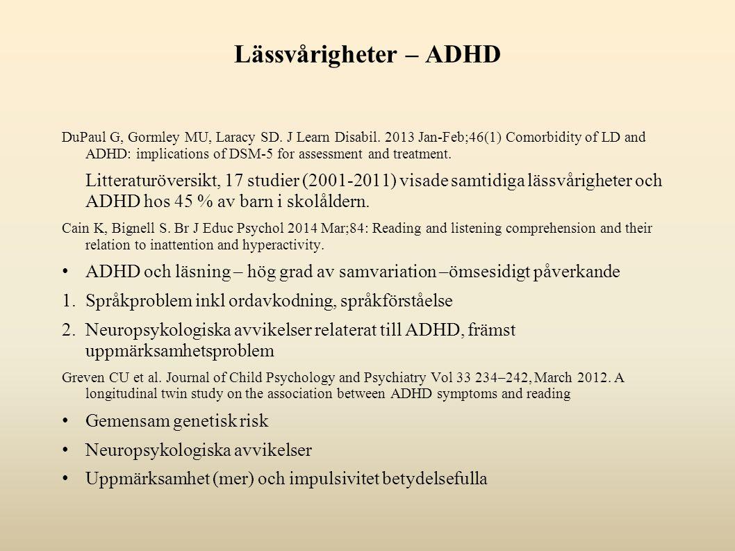 Lässvårigheter – ADHD