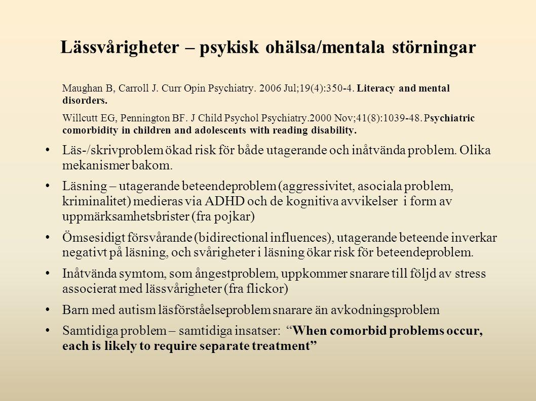 Lässvårigheter – psykisk ohälsa/mentala störningar