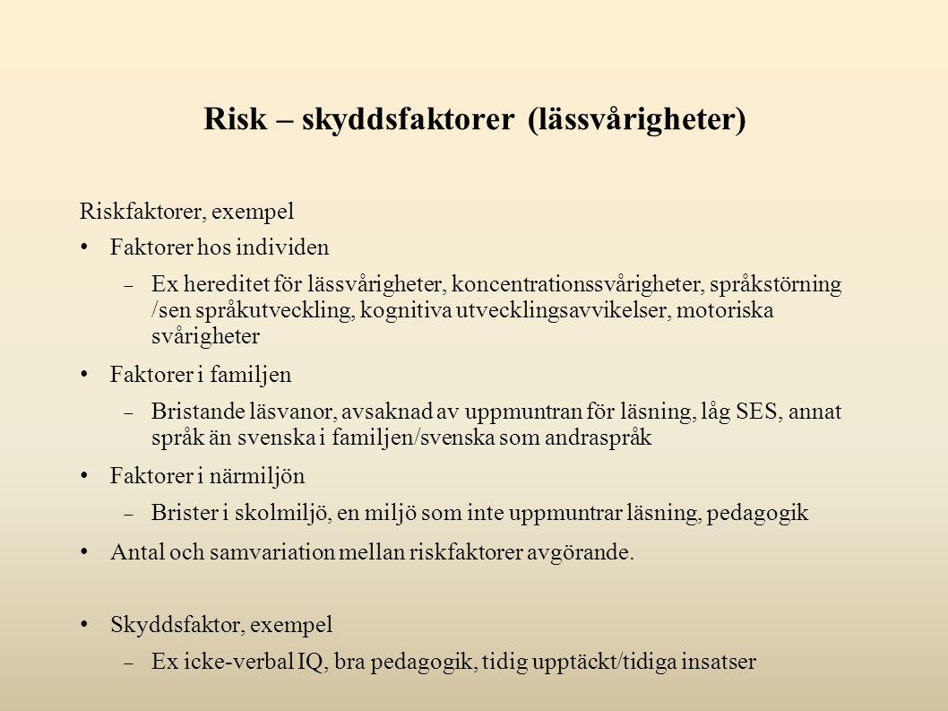 Risk – skyddsfaktorer (lässvårigheter)