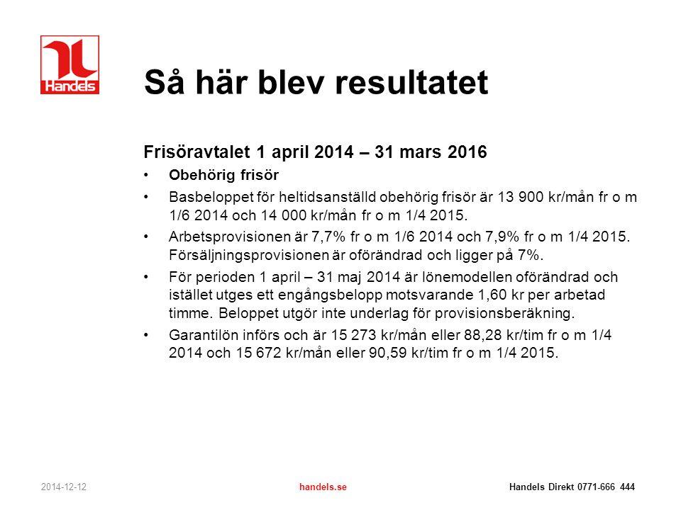 Så här blev resultatet Frisöravtalet 1 april 2014 – 31 mars 2016