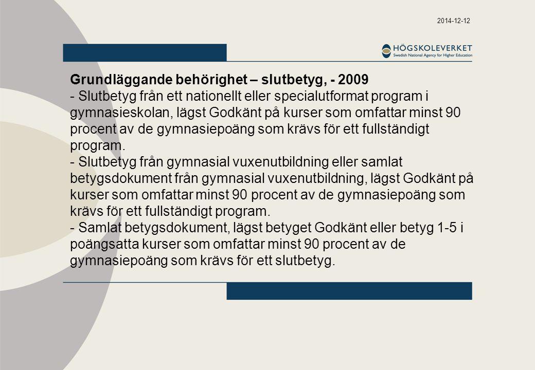 Grundläggande behörighet – slutbetyg, - 2009
