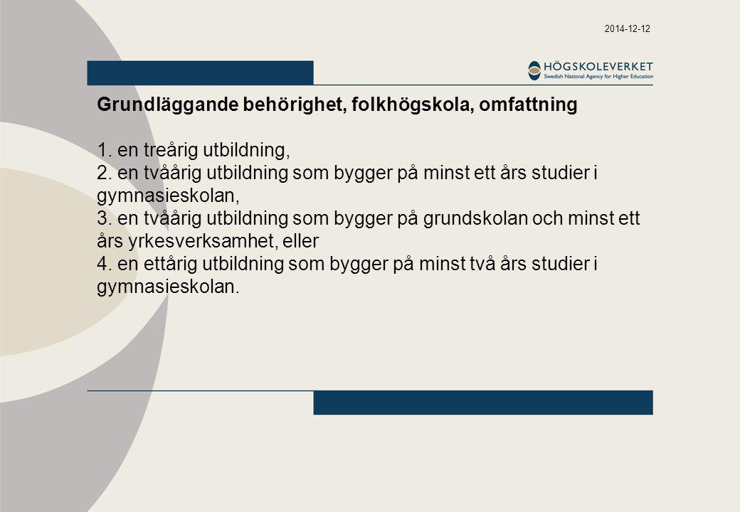 Grundläggande behörighet, folkhögskola, omfattning