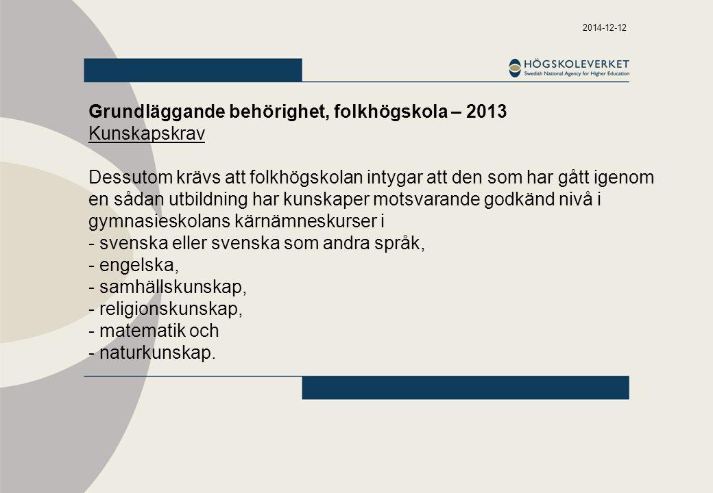 Grundläggande behörighet, folkhögskola – 2013 Kunskapskrav