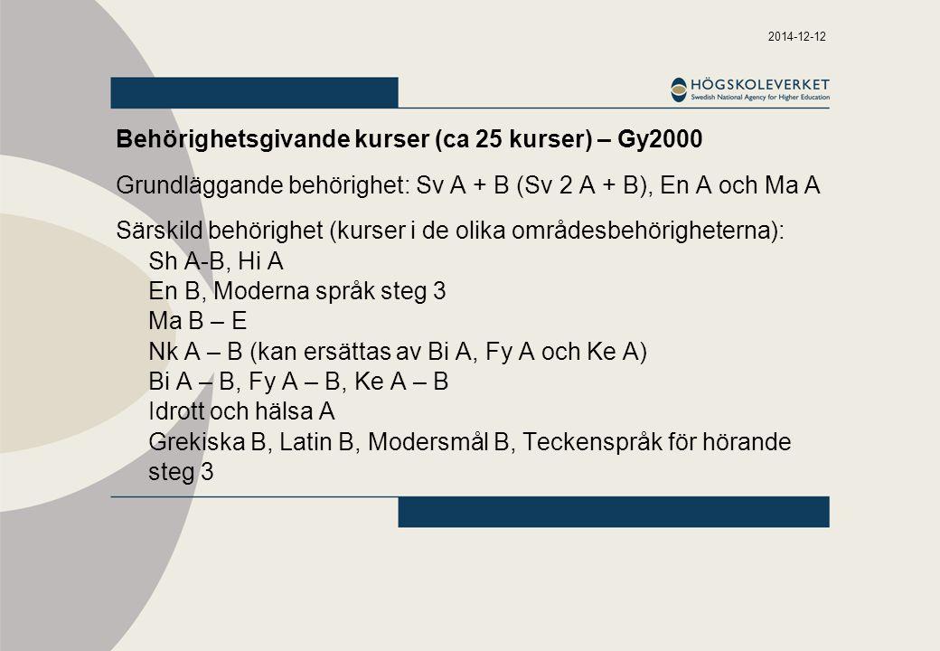 Behörighetsgivande kurser (ca 25 kurser) – Gy2000
