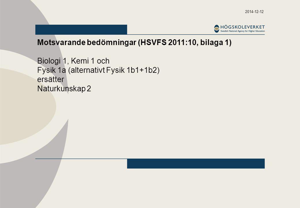 Motsvarande bedömningar (HSVFS 2011:10, bilaga 1)