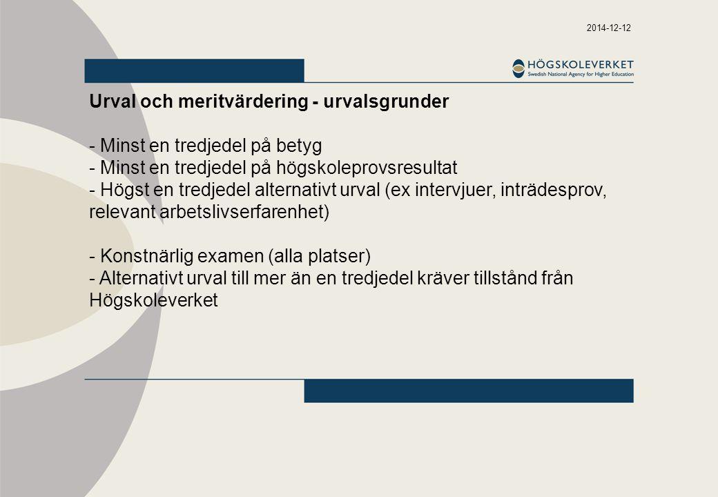 Urval och meritvärdering - urvalsgrunder - Minst en tredjedel på betyg