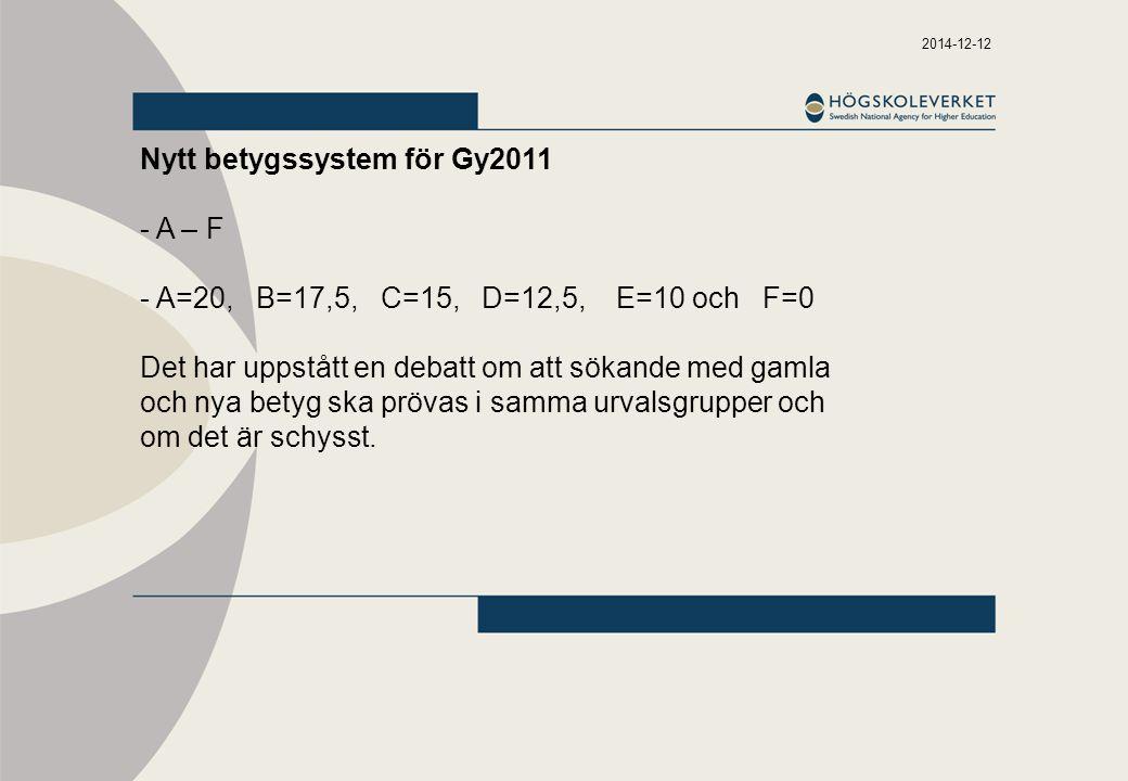Nytt betygssystem för Gy2011 - A – F