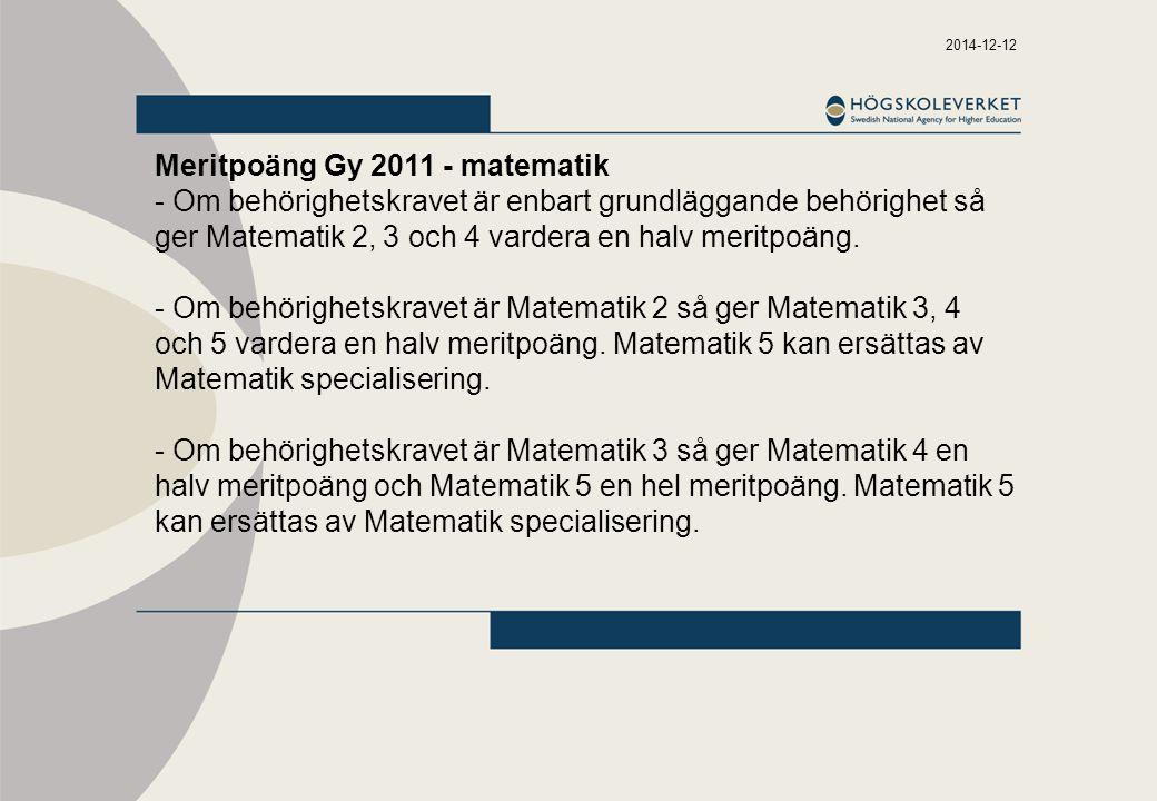 Meritpoäng Gy 2011 - matematik