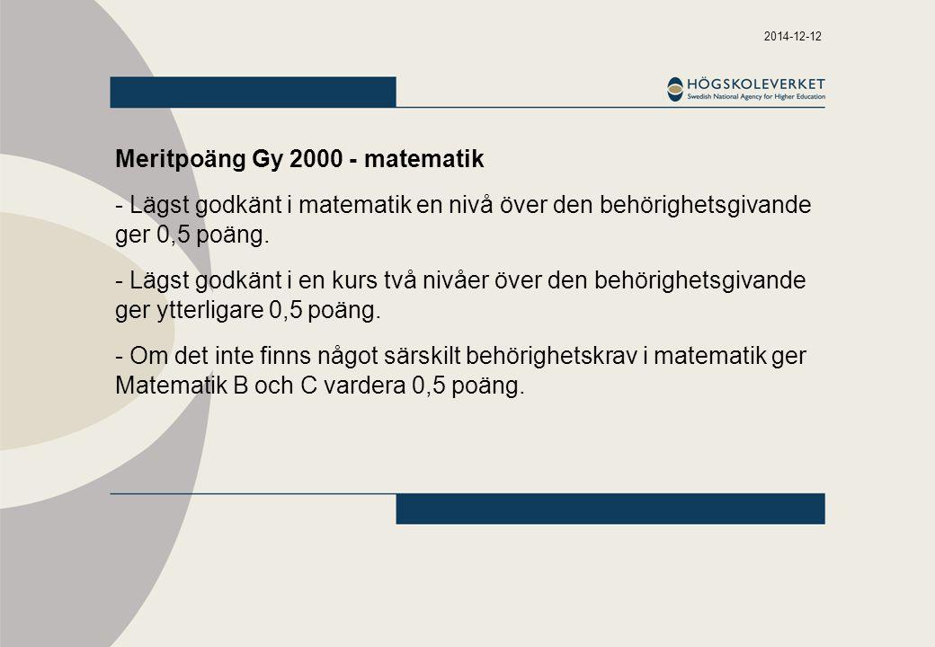Meritpoäng Gy 2000 - matematik
