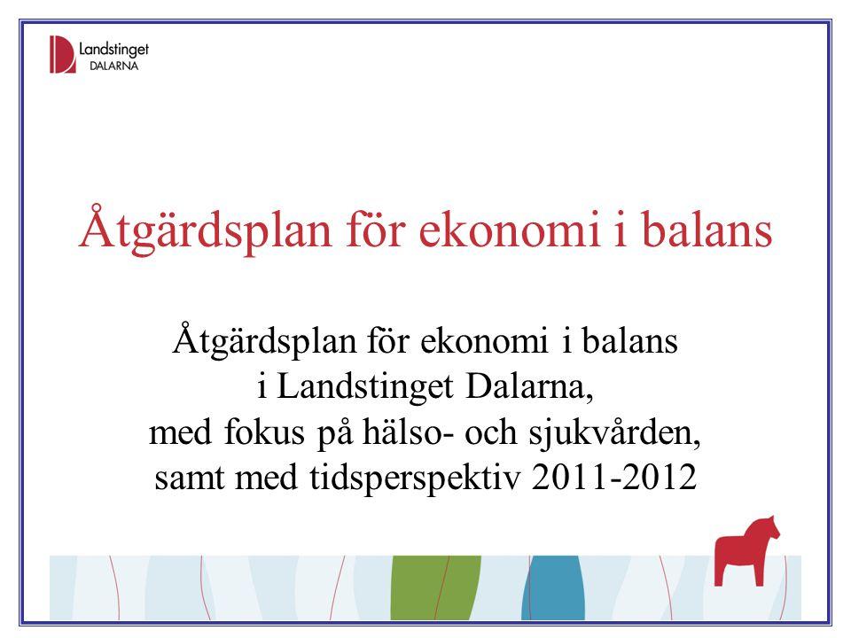 Åtgärdsplan för ekonomi i balans