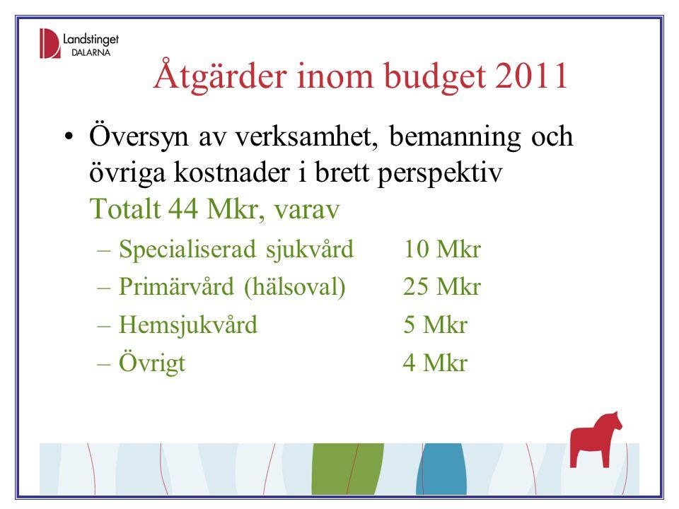 Åtgärder inom budget 2011 Översyn av verksamhet, bemanning och övriga kostnader i brett perspektiv Totalt 44 Mkr, varav.