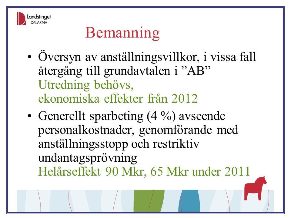 Bemanning Översyn av anställningsvillkor, i vissa fall återgång till grundavtalen i AB Utredning behövs, ekonomiska effekter från 2012.