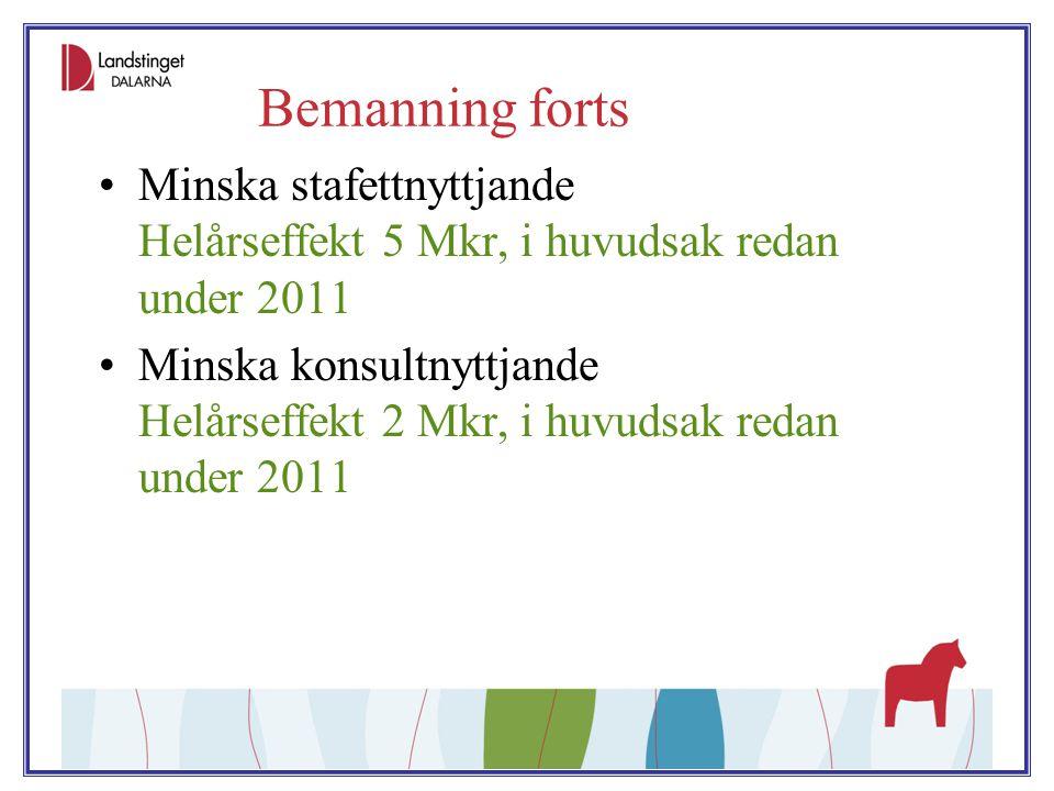 Bemanning forts Minska stafettnyttjande Helårseffekt 5 Mkr, i huvudsak redan under 2011.