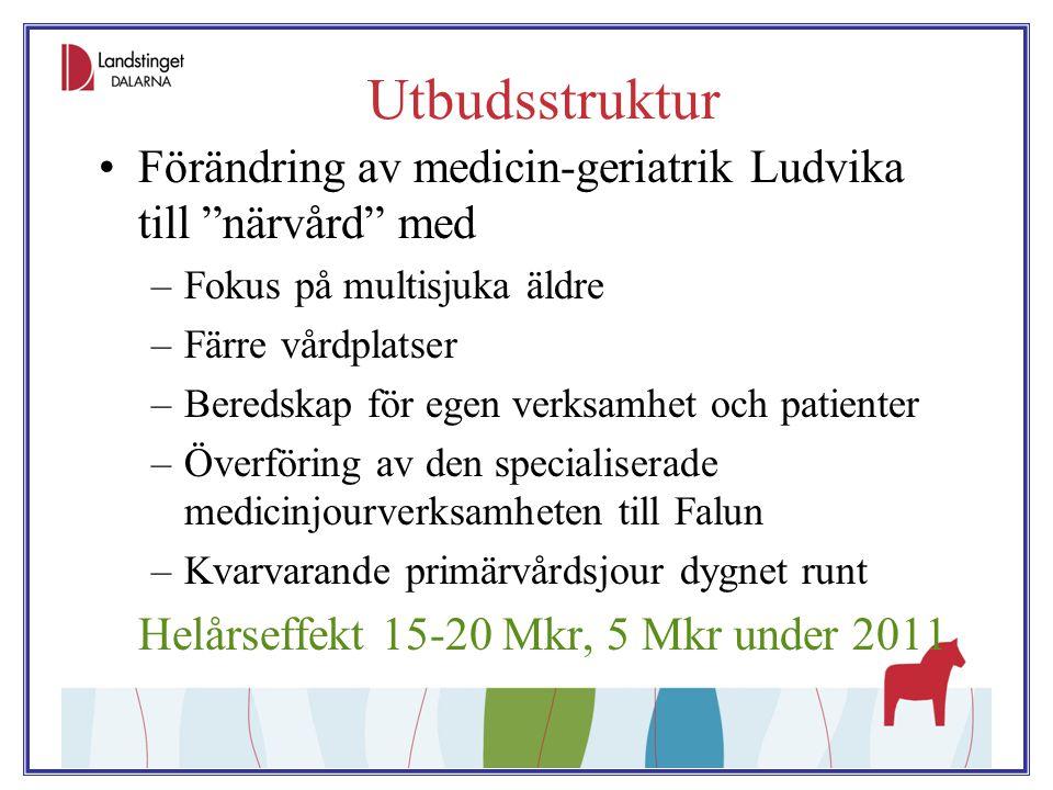 Utbudsstruktur Förändring av medicin-geriatrik Ludvika till närvård med. Fokus på multisjuka äldre.