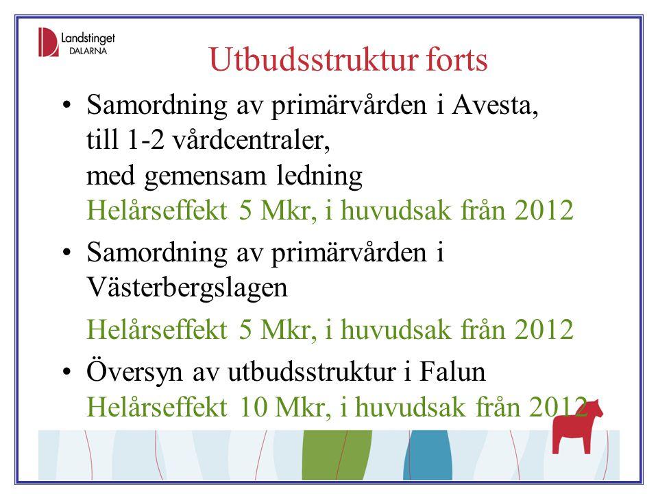 Utbudsstruktur forts Samordning av primärvården i Avesta, till 1-2 vårdcentraler, med gemensam ledning Helårseffekt 5 Mkr, i huvudsak från 2012.