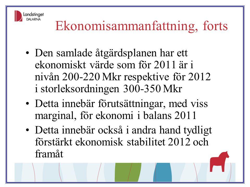 Ekonomisammanfattning, forts