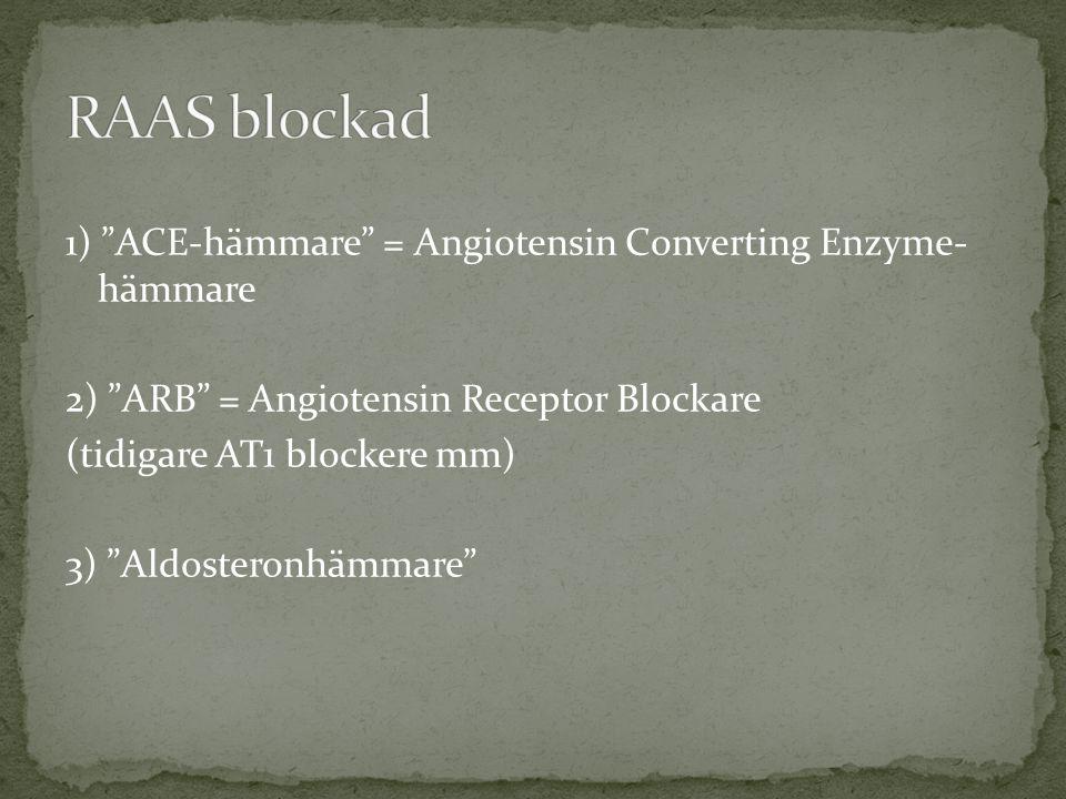 RAAS blockad 1) ACE-hämmare = Angiotensin Converting Enzyme- hämmare