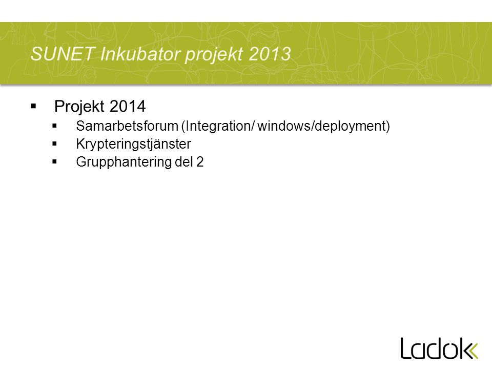 SUNET Inkubator projekt 2013