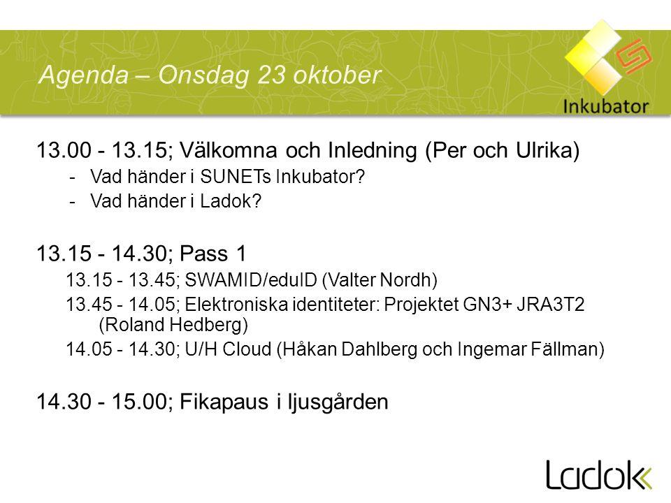 Agenda – Onsdag 23 oktober