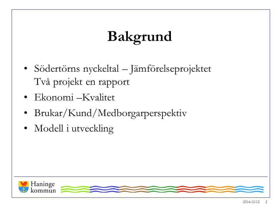 Bakgrund Södertörns nyckeltal – Jämförelseprojektet Två projekt en rapport. Ekonomi –Kvalitet. Brukar/Kund/Medborgarperspektiv.