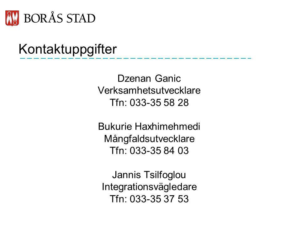 Kontaktuppgifter Dzenan Ganic Verksamhetsutvecklare Tfn: 033-35 58 28
