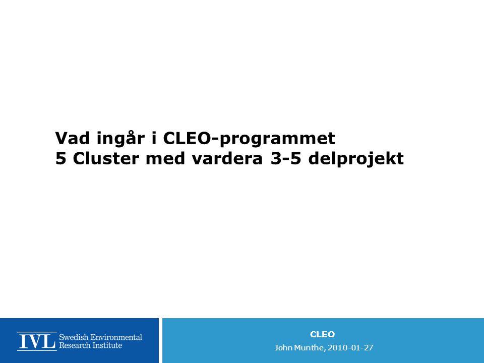Vad ingår i CLEO-programmet 5 Cluster med vardera 3-5 delprojekt