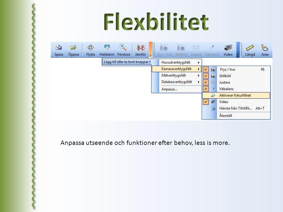 Flexbilitet Anpassa utseende och funktioner efter behov, less is more.