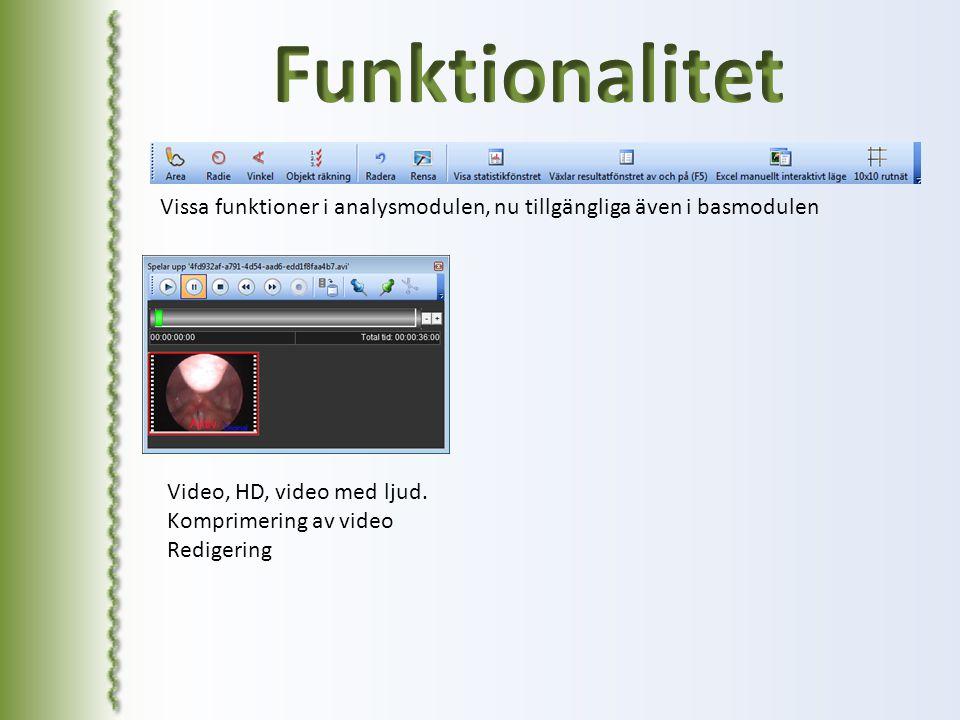 Funktionalitet Vissa funktioner i analysmodulen, nu tillgängliga även i basmodulen. Video, HD, video med ljud.