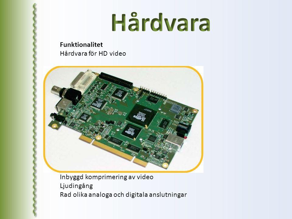 Hårdvara Funktionalitet Hårdvara för HD video