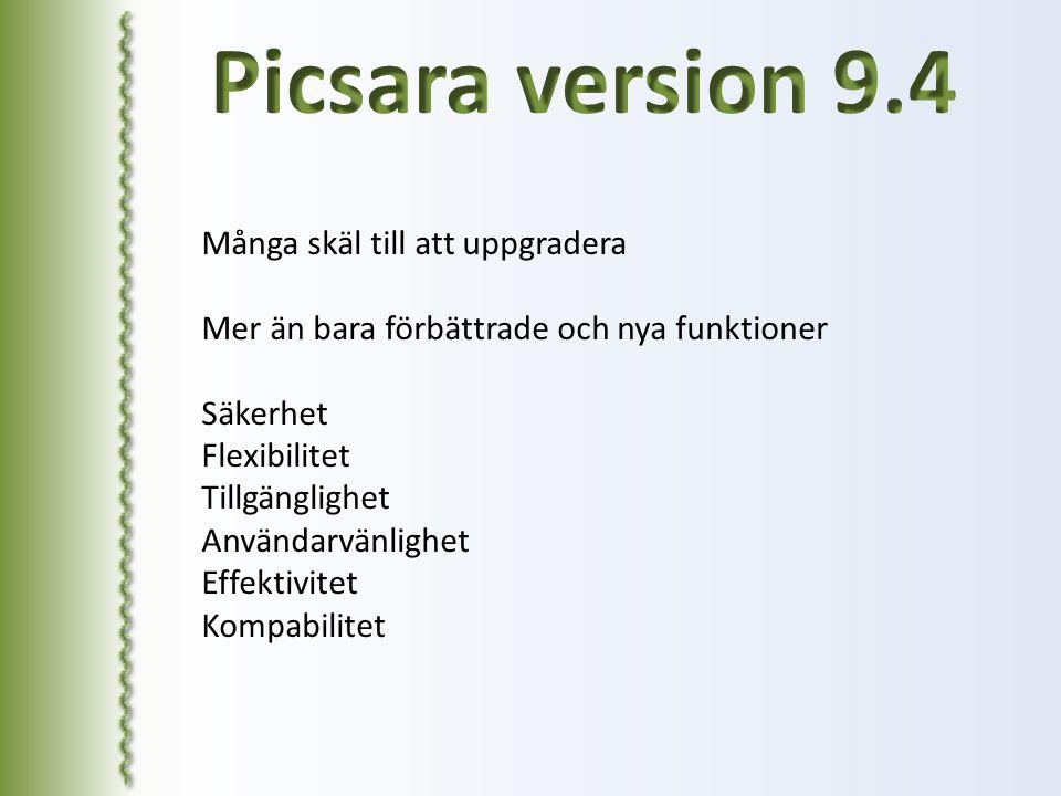 Picsara version 9.4 Många skäl till att uppgradera