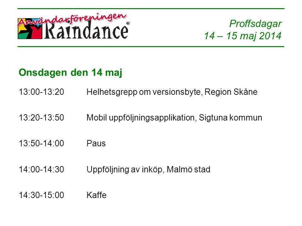 Onsdagen den 14 maj 13:00-13:20. Helhetsgrepp om versionsbyte, Region Skåne. 13:20-13:50. Mobil uppföljningsapplikation, Sigtuna kommun.
