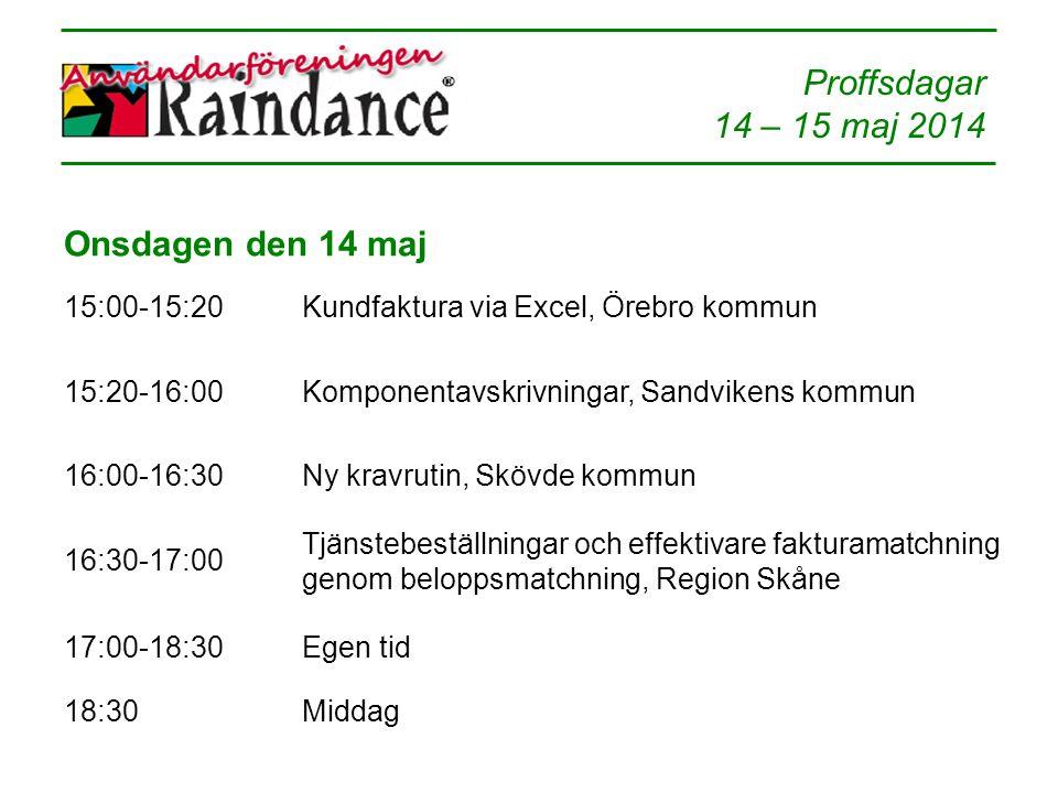 Onsdagen den 14 maj 15:00-15:20 Kundfaktura via Excel, Örebro kommun