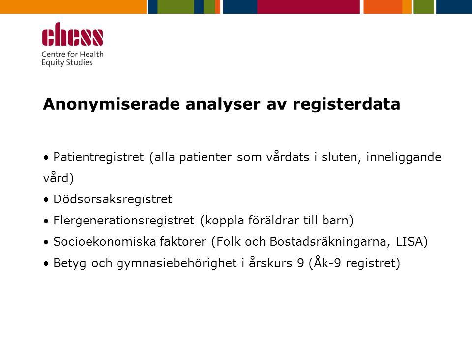Anonymiserade analyser av registerdata