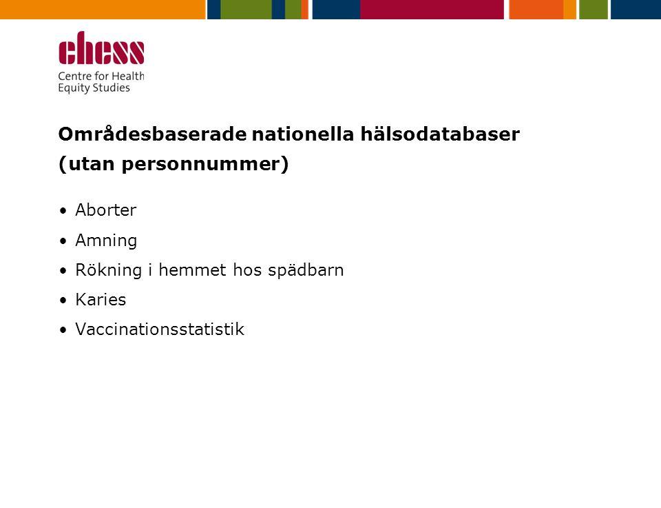 Områdesbaserade nationella hälsodatabaser (utan personnummer)
