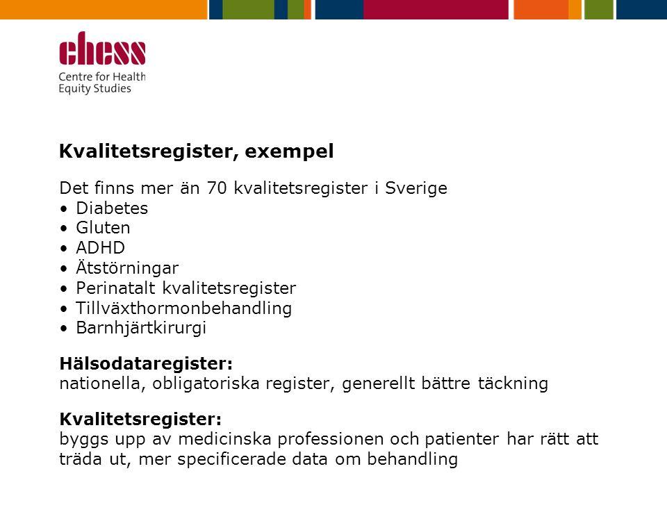 Kvalitetsregister, exempel