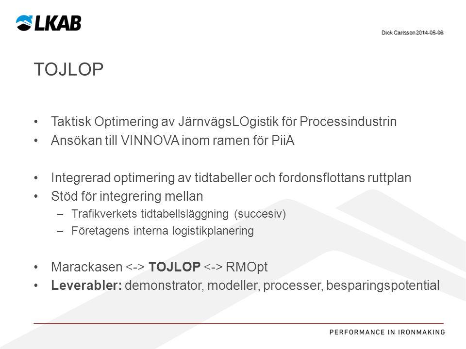 Tojlop Taktisk Optimering av JärnvägsLOgistik för Processindustrin