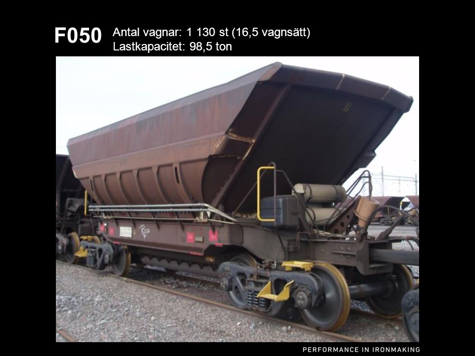 F050 Antal vagnar: 1 130 st (16,5 vagnsätt) Lastkapacitet: 98,5 ton