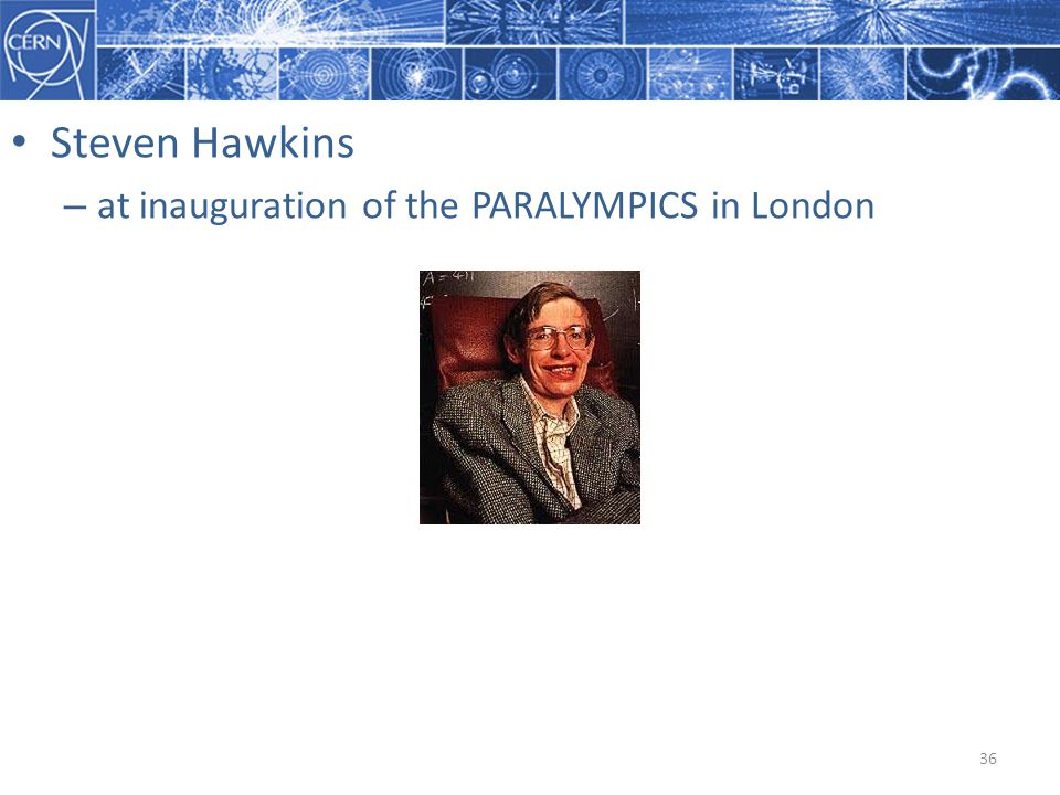 Steven Hawkins at inauguration of the PARALYMPICS in London