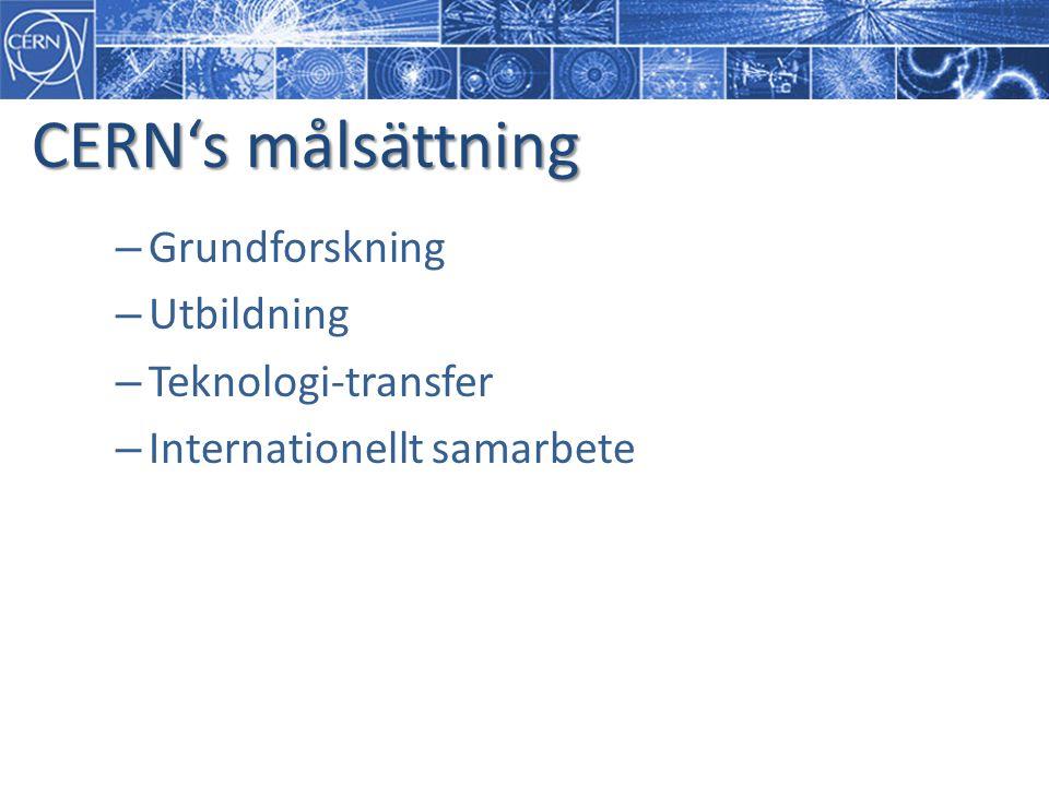 CERN's målsättning Grundforskning Utbildning Teknologi-transfer